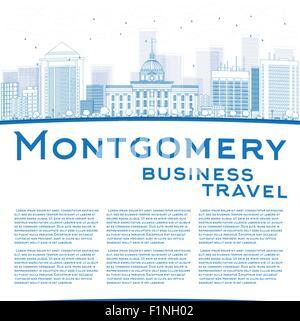 Montgomery Skyline mit blauen Gebäude und Kopie Raum zu skizzieren. Alabama. Vektor-Illustration - Stockfoto