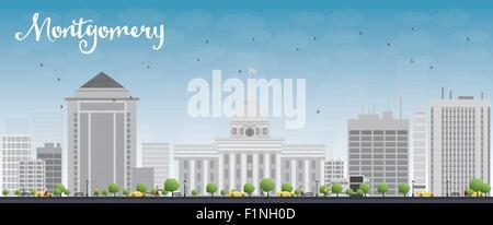 Skyline von Montgomery mit grauen Gebäude und blauer Himmel. Alabama. Vektor-Illustration - Stockfoto