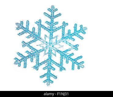 Schneeflocke mit weißem Hintergrund - Stockfoto