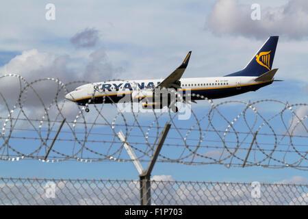 RYANAIR, Boeing 737-8AS, EI-DAP, Flug FR409, im Endanflug zum Flughafen Kopenhagen, Kopenhagen, Dänemark aus Köln, - Stockfoto