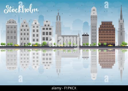 Skyline von Stockholm mit grauen Gebäuden und blauer Himmel. Vektor-Illustration - Stockfoto