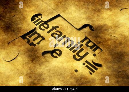 Familie Grunge-Puzzle-Konzept - Stockfoto
