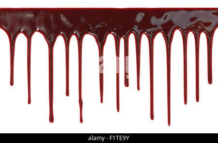 Blut tropfte auf weißem Hintergrund - Stockfoto
