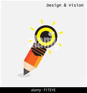 Bleistift und Glühbirne gestalterische Vision Konzept. Flachen Stil moderne Designkonzept. - Stockfoto