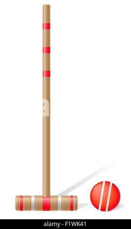Krocket-Schläger und Ball-Vektor-Illustration isoliert auf weißem Hintergrund - Stockfoto