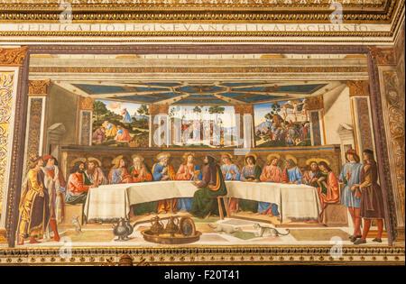 Das letzte Abendmahl ein Fresko von Cosimo Rosselli Sixtinische Kapelle Apostolischen Palast Vatikan Museum Vatikanstadt - Stockfoto