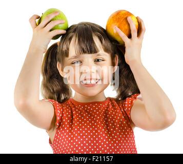 glücklich Schönheit Mädchen, halten Apple und Lächeln, auf weißem Hintergrund, isoliert - Stockfoto