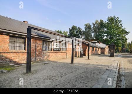 Polen, staatliches Museum Auschwitz-Birkenau, Auschwicz KZ, Versammlung Square und kollektive Galgen. - Stockfoto
