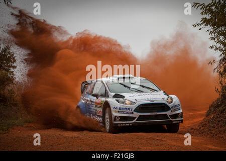Coffs Harbour, Australien. 10. September 2015. Britischer Fahrer Elfyn Evans fahren für das M-Sport World Rally - Stockfoto