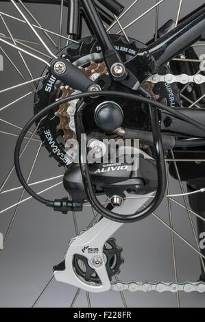 Wisper e-Bike. Hinten Nabeneinheit ausgestattet mit einer Shimano Megarange 7 Gang Freilauf - Stockfoto