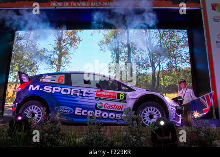 Coffs Harbour, Australien. 10. September 2015. Rallye Australien zeremonielle Start. Die M-Sport World Rally Team - Stockfoto