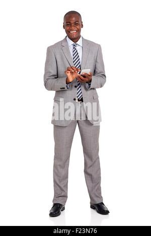 fröhliche junge afrikanische amerikanische Geschäftsmann mit Handy - Stockfoto