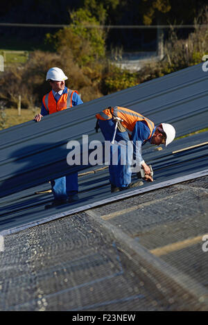 Ein Baumeister Schrauben unten Dach Eisen für das Dach auf eine großes Geschäftshaus in der Nähe von Greymouth, - Stockfoto