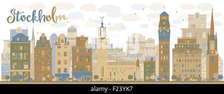 Skyline von Stockholm mit braunen und blauen Gebäude. Vektor-Illustration - Stockfoto