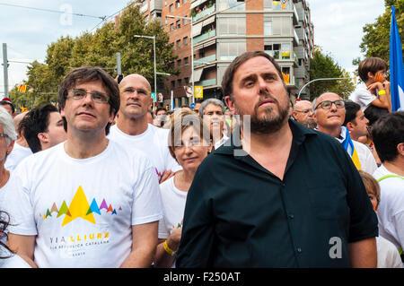 Barcelona, Katalonien, Spanien. 11. September, 2015. Die Kandidaten Junts Pel ja, Oriol Junqueras, Raul Romeva und - Stockfoto