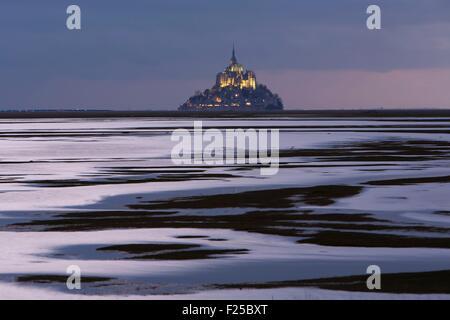 Frankreich, Manche, Mont-Saint-Michel, die als Weltkulturerbe der UNESCO, Mont Saint-Michel aus dem Litoral bei - Stockfoto