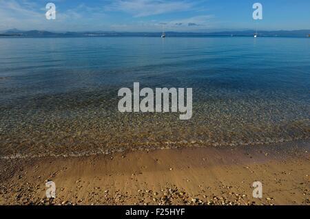 Frankreich, Var, Iles d'Hyeres, Parc National de Port Cros (National Park von Port Cros), Porquerolles island, Plage - Stockfoto