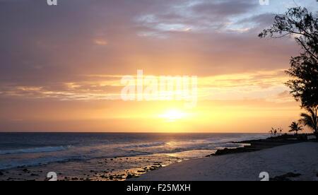 Barbados Sonnenuntergang Dover Beach - Stockfoto