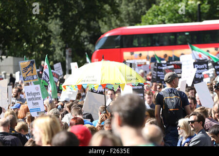 London, UK. 12. Sep, 2015. Zentrum von London, 12. September 2015-Zehntausende von Demonstranten schloss sich, in - Stockfoto