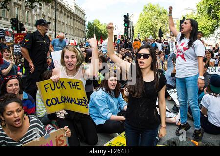 London, UK. 12. Sep, 2015. Tausende marschierten im Zentrum von London erklärte, dass Flüchtlinge willkommen im - Stockfoto