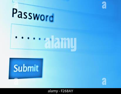 Login und Passwort auf Bildschirm - Stockfoto