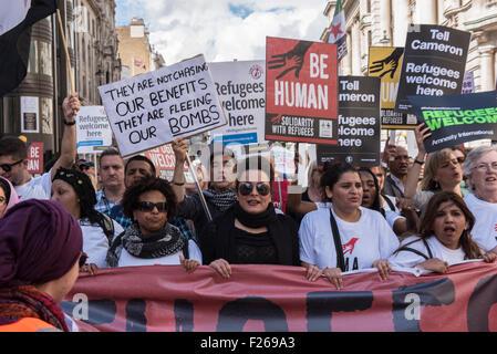 London, UK. 12. Sep, 2015. Flüchtlinge willkommen hier nationale Demonstration zur Unterstützung der Menschen auf - Stockfoto