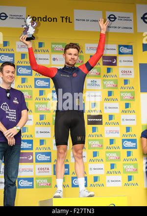 London, UK. 13. Sep, 2015. Tour durch Großbritannien Bühne acht. London-Finish. Beste britische Fahrer Owain Doull - Stockfoto