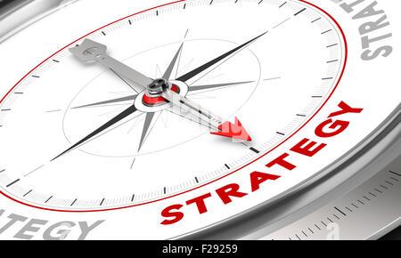 Kompass mit Nadel zeigt das Wort Strategie. Konzeptionelle Darstellung für Verkaufsstrategien Management. Business - Stockfoto