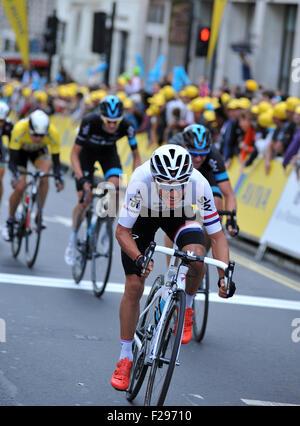 London, UK, 13. September 2015. Tour of Britain, Stufe 8.  Peter Kennaugh (Team Sky und British National Champion) - Stockfoto