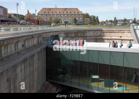 Eingang zur u-bahn Dänische Maritime Museum, M/S Museet für Søfart, in Helsingör/Helsingør, Dänemark. Architekt Bjarke Ingels groß.
