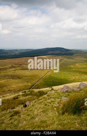 Feld Grenze Trockenmauern Wand Kreuzung Buxtors Hill unter Shutlingsloe in der Nähe von The Macclesfield Wald Cheshire - Stockfoto