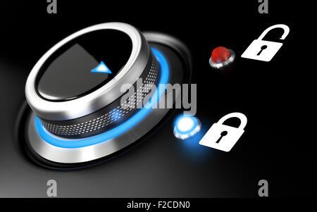 Daten Schutz Bild. Konzeptionelle Darstellung mit einem Knopf und zwei Vorhängeschloss auf schwarzem Hintergrund. - Stockfoto