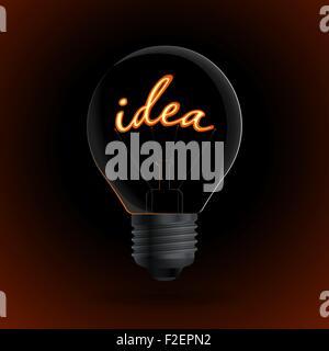 Glühbirne mit Idee Zeichen auf dunklem Hintergrund - Stockfoto
