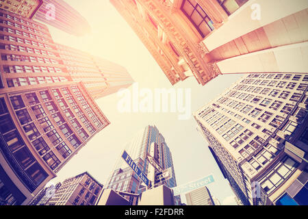 Jahrgang gefiltert fisheye Bild von Manhattan, in Himmel, New York City, USA. - Stockfoto