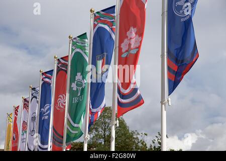 Twickenham, London, UK. 18. Sep, 2015. Rugby World Cup. England gegen Fidschi. Nationale Fahnen flattern im Wind. - Stockfoto