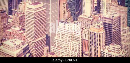 Retro Vintage getönten Panorama-Bild von Manhattan, New York, USA. - Stockfoto