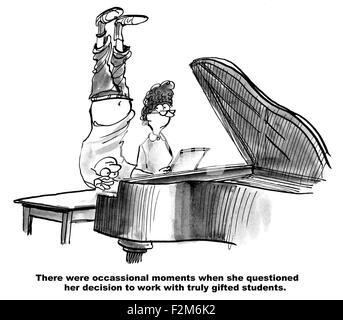 """Bildung Cartoon zeigt junge Klavier zu spielen, wie er auf dem Kopf steht """"... es gab Momente... wirklich begabte - Stockfoto"""