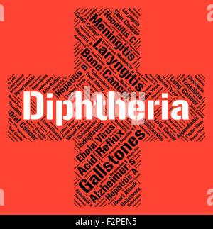 Diphtherie-Wort Angabe Corynebacterium Diphtheriae und Bakterien - Stockfoto