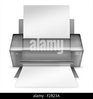 Realistische moderne Drucker isoliert auf weißem Hintergrund. Sehr detaillierte Darstellung. - Stockfoto