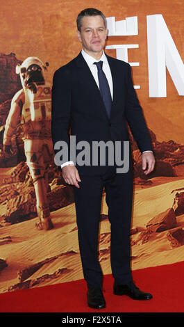 "London, UK. 24. September 2015. Matt Damon besuchen Sie die Europa-Premiere von ""The Martian"" im Odeon Leicester - Stockfoto"
