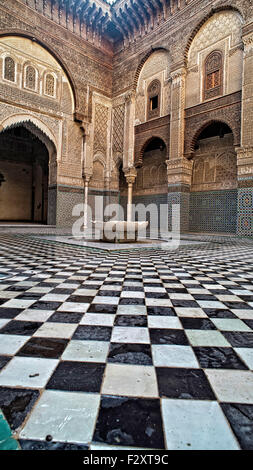 Fliesenboden, Medersa Attarine, Fes, Marokko - Stockfoto