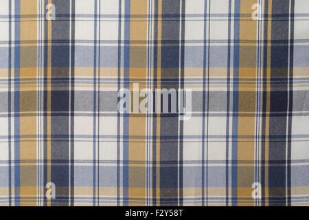 Blau, gelb und weiß kariertes Tuch Hintergrund. - Stockfoto