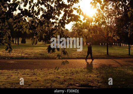 Eine Frau geht durch Glasgow Green durch die herbstliche Morgensonne beleuchtet - Stockfoto