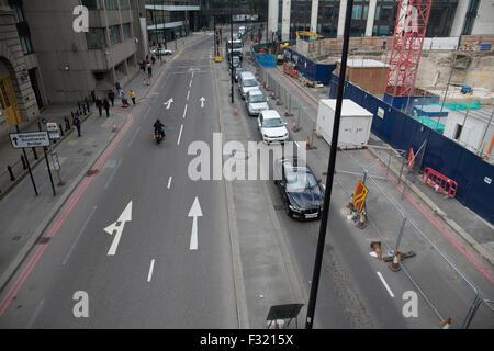 Ost-West-Zyklus Superhighway Bau am unteren Thames Street - Stockfoto