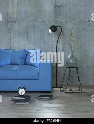 modernes Interieur mit blauem Sofa und Stehleuchte Hintergrund, 3D render - Stockfoto