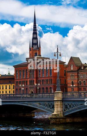 Ansicht von Seiten der Altstadt (Gamla Stan) in Stockholm, Schweden - Stockfoto