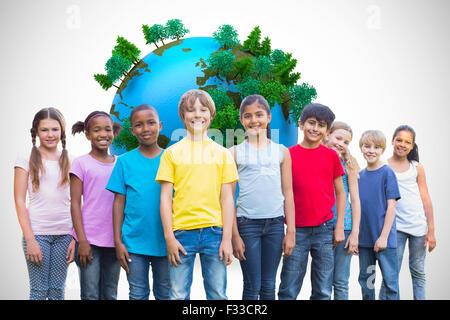Zusammengesetztes Bild der happy Friends spielen im park - Stockfoto