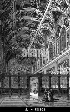 Späten 18. Jahrhundert Blick der Sixtinischen Kapelle, eine Kapelle im Apostolischen Palast, die offizielle Residenz - Stockfoto