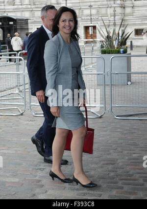 London, UK, 12. September 2015: Liz Kendall gesehen Arbeitspartei Führungwahl - Sonderkonferenz am Königin Eliza - Stockfoto