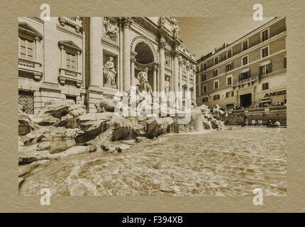 Der Trevi-Brunnen, die Fontana di Trevi, ist der größte Brunnen in Rom, Lazio, Italien, Europa - Stockfoto
